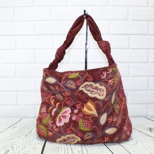 NORDSTROM Purple Suede Embroidered Hobo Handbag